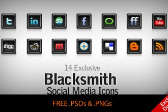 Blacksmith – 14 exclusive free Social Network / Media icons