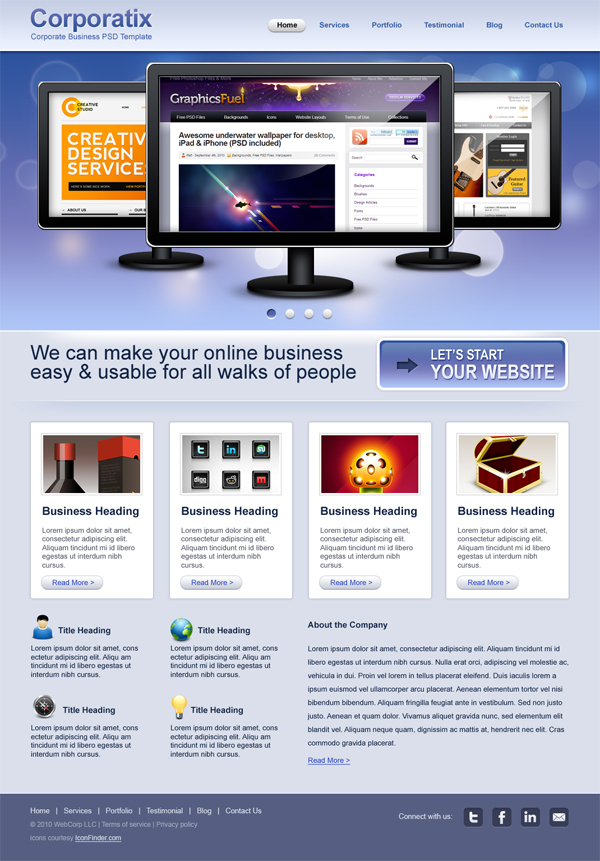 Clean corporate & business website PSD template