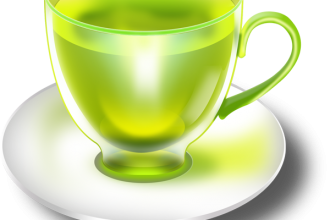 Glossy mint tea cups and saucers in PSD
