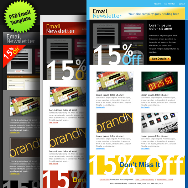 PSD email template in 3 colors