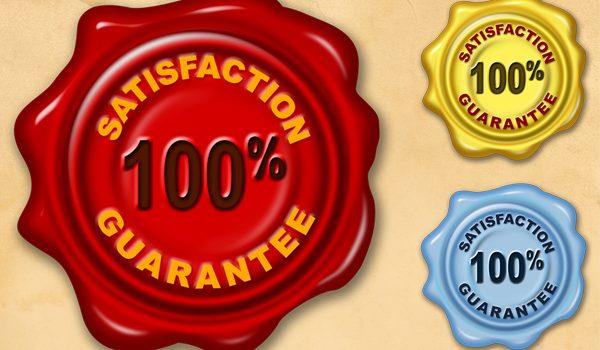 Satisfaction guarantee wax seal (PSD & PNG)