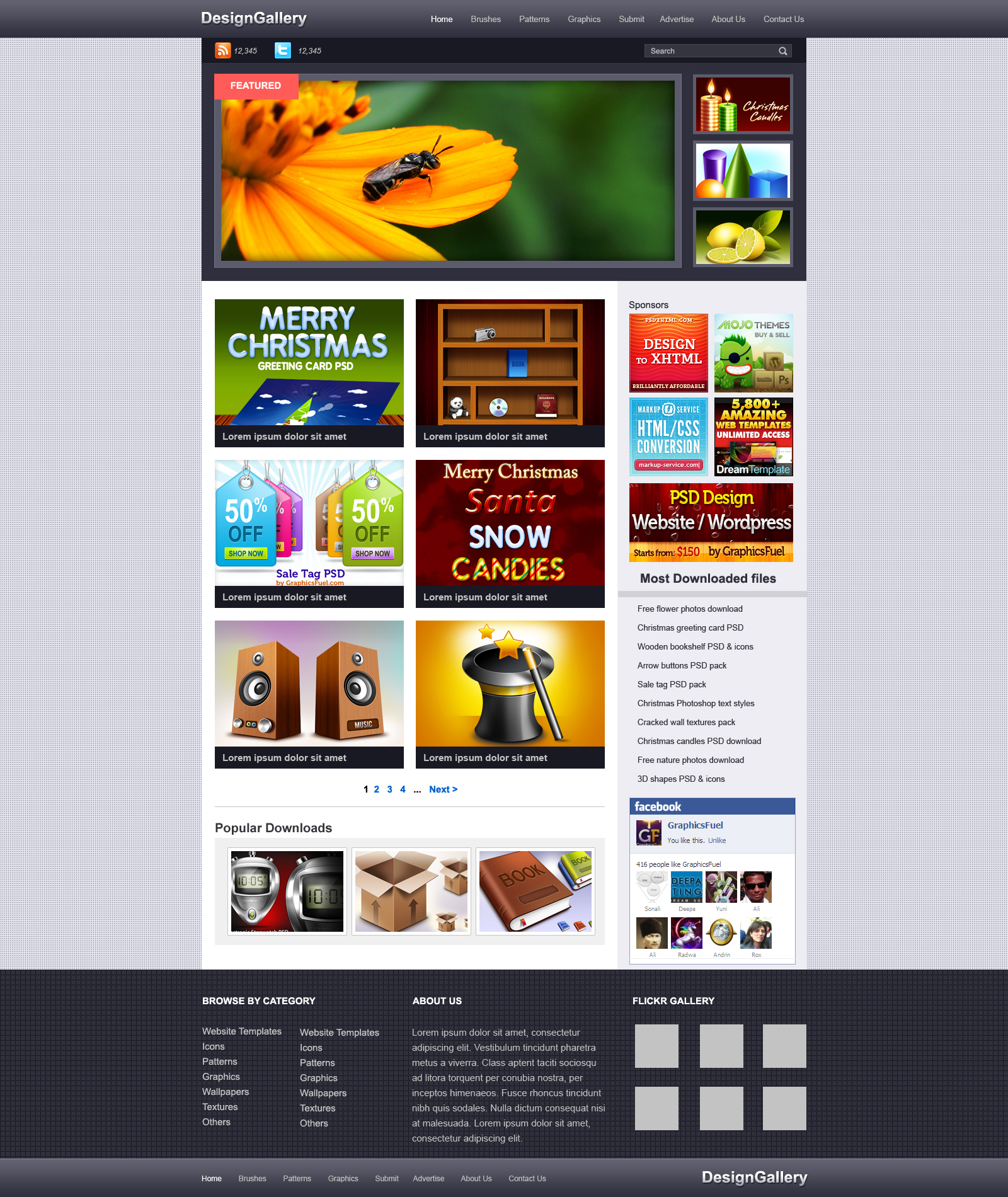 Website gallery PSD template