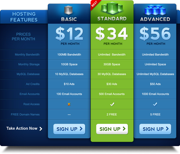 Pricing table PSD template