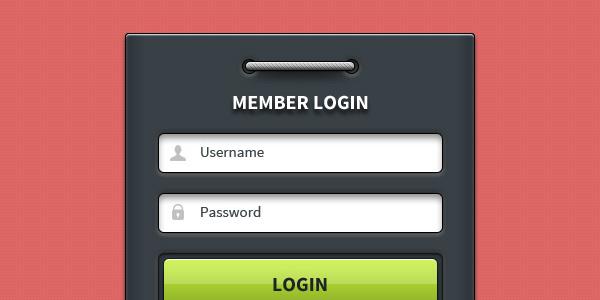 Member login form UI element (PSD)