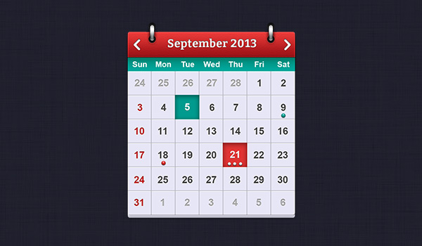 PSD Calendar interface design for iOS