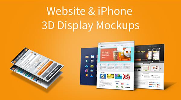 Website & iPhone 5 3D Display Mockups Vol.1 (PSD)