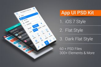 App UI Kit Pro: iOS7, Flat, Dark Flat 300+ Elements in 60+ PSDs, Icons & More