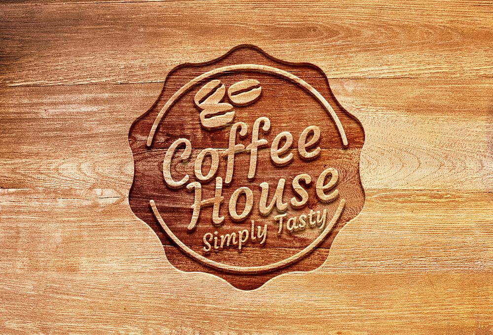 Carved Wood Logo Mockup PSD