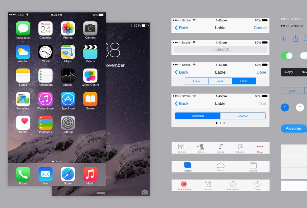 iOS 8 iPhone 6 Plus UI Kit PSD