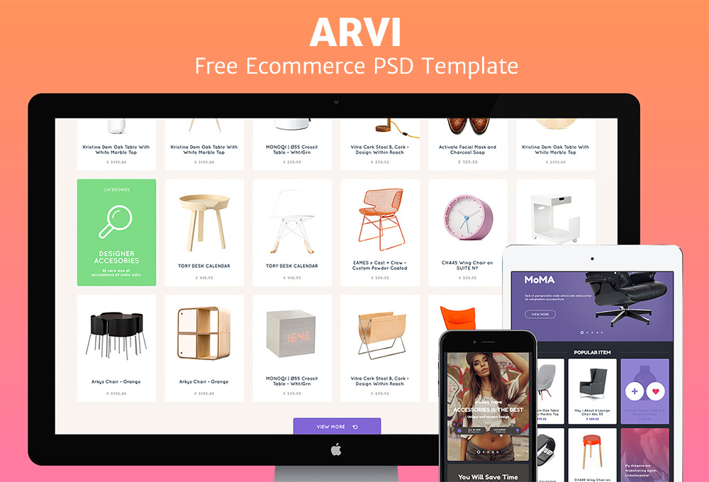 Arvi: Free Ecommerce Website PSD Template