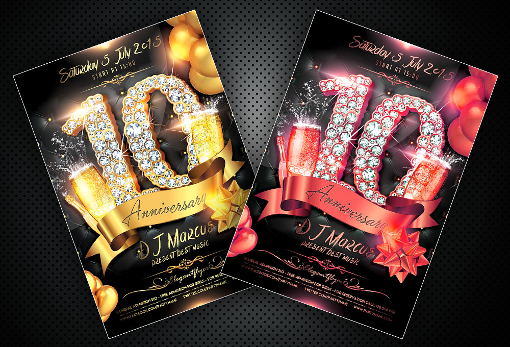 Free Anniversary Flyer PSD Template + Facebook Cover