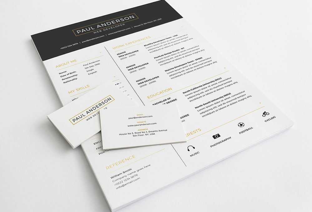 Free Resume PSD Template