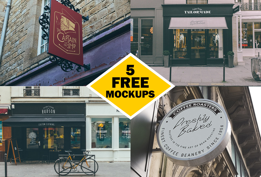 Outdoor Signs and Facades Mockup PSD