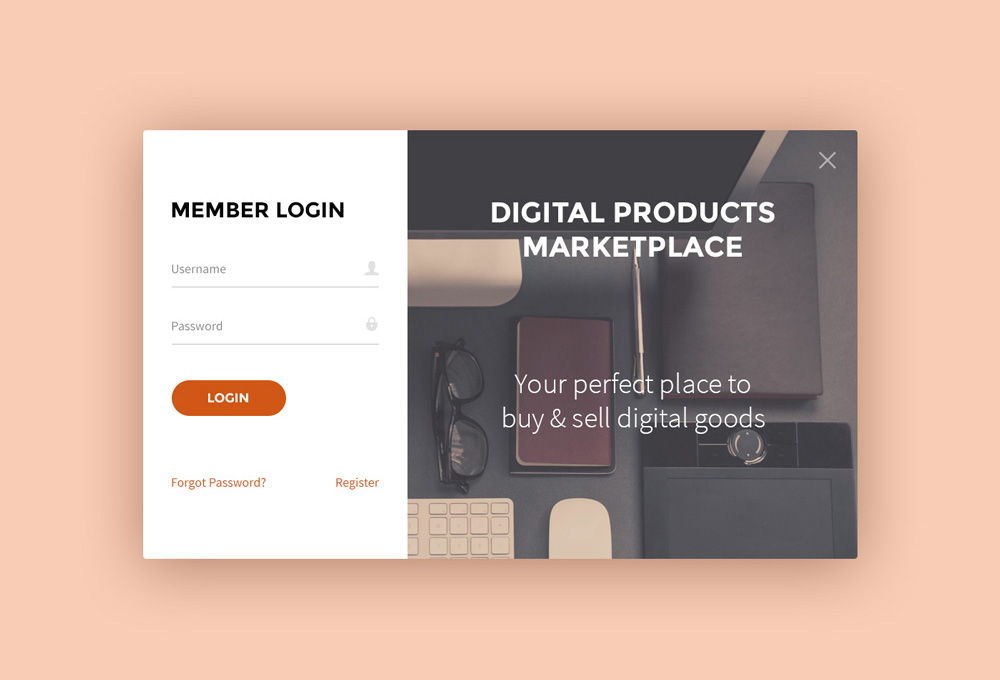 Sign Up and Login Forms PSD