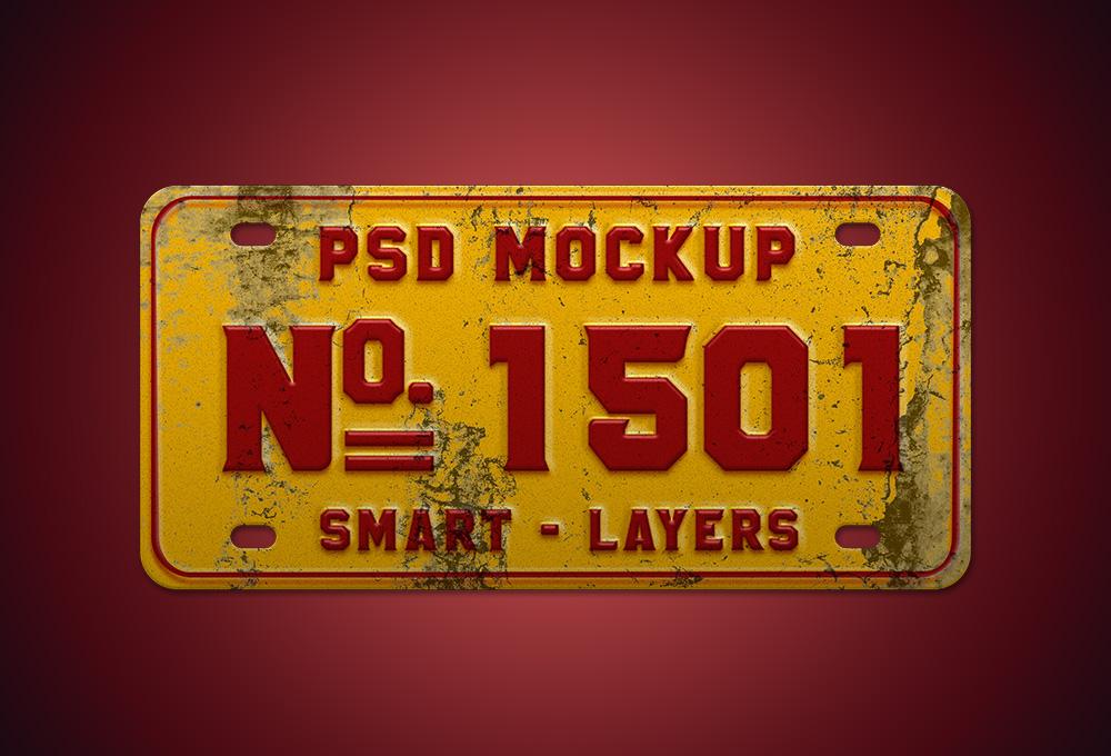 Vintage Number Plate Mockup PSD