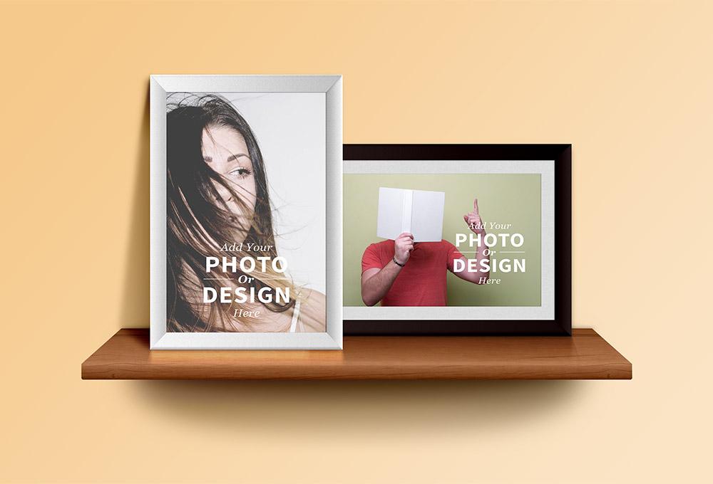 Photo Frames On the Shelf PSD