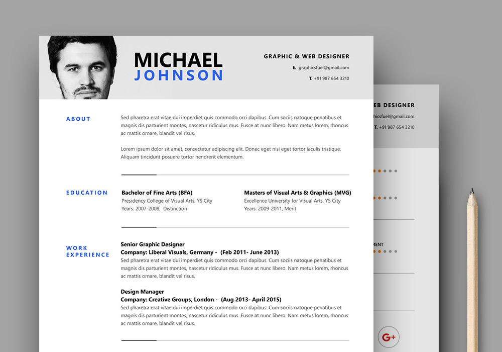 Resume / CV PSD Template