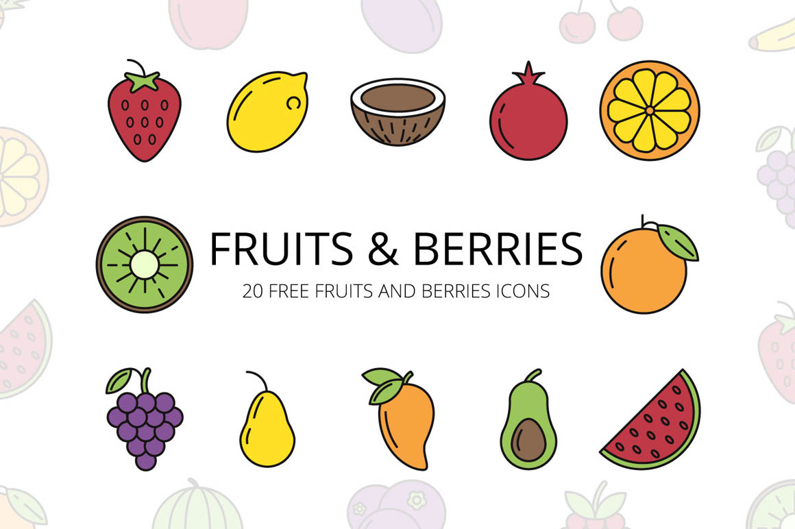 Fruits and Berries Vector Free Icon Set