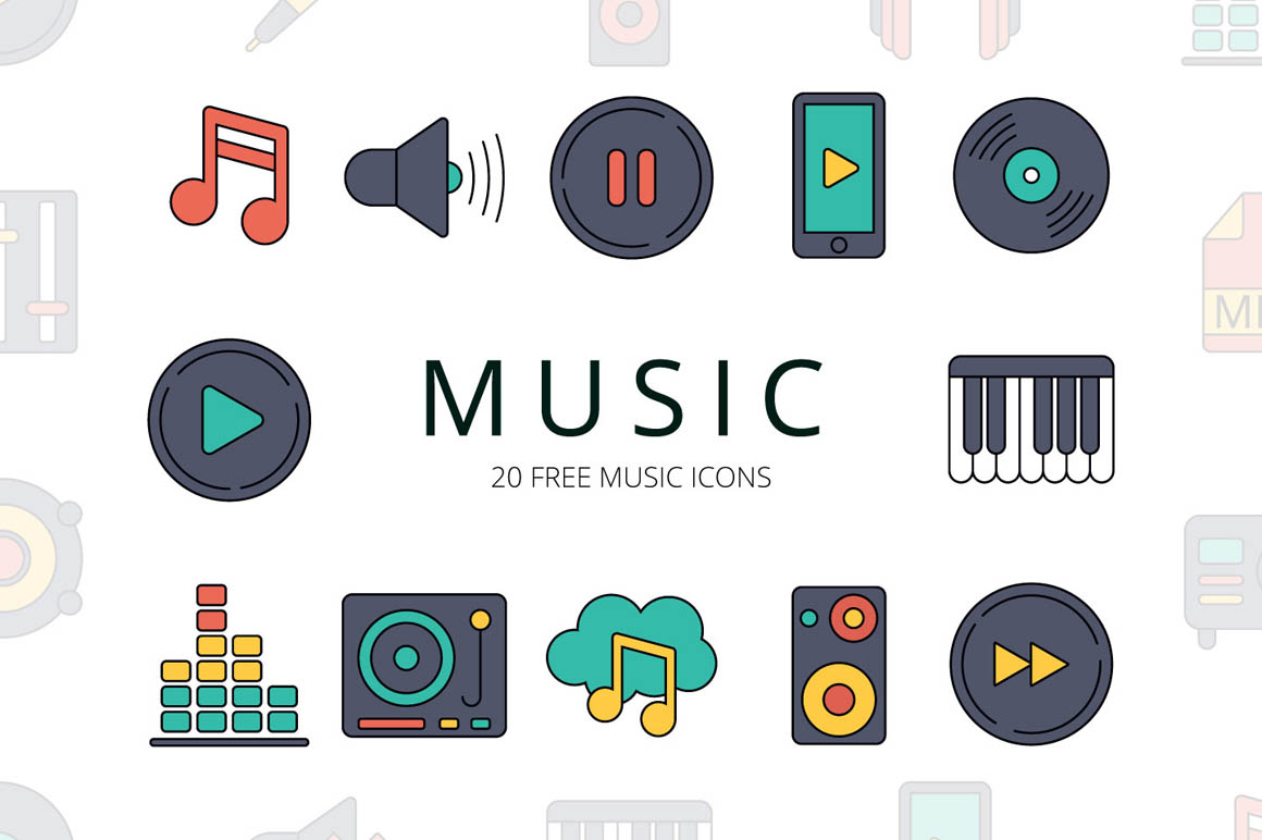 Music Vector Free Icon Set